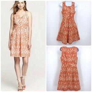 J Crew Orange Caroline Ikat Midi Casual Dress